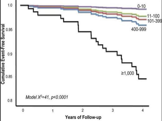 those with high calcium scores have much higher cardiovascular event rates  and reduced survival over the subsequent 5-10 years